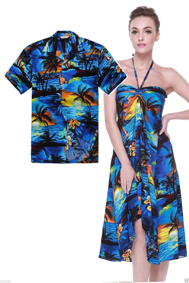 Details about Couple Matching Shirt Dress Set Hawaiian ...