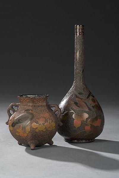 "Two Pieces of Totai ""Tree Bark"" Cloisonné, - Cowan's Auctions"