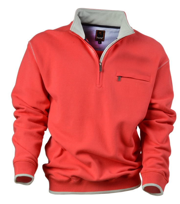 $85 Agay is a mens 1/4 Zipped Long-Sleeved Sweater: 100% Cotton