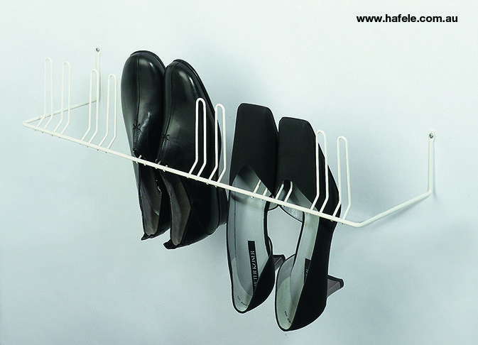 Shoe Rack and Rail System: Shoe rack for 2 or 3 pairs.
