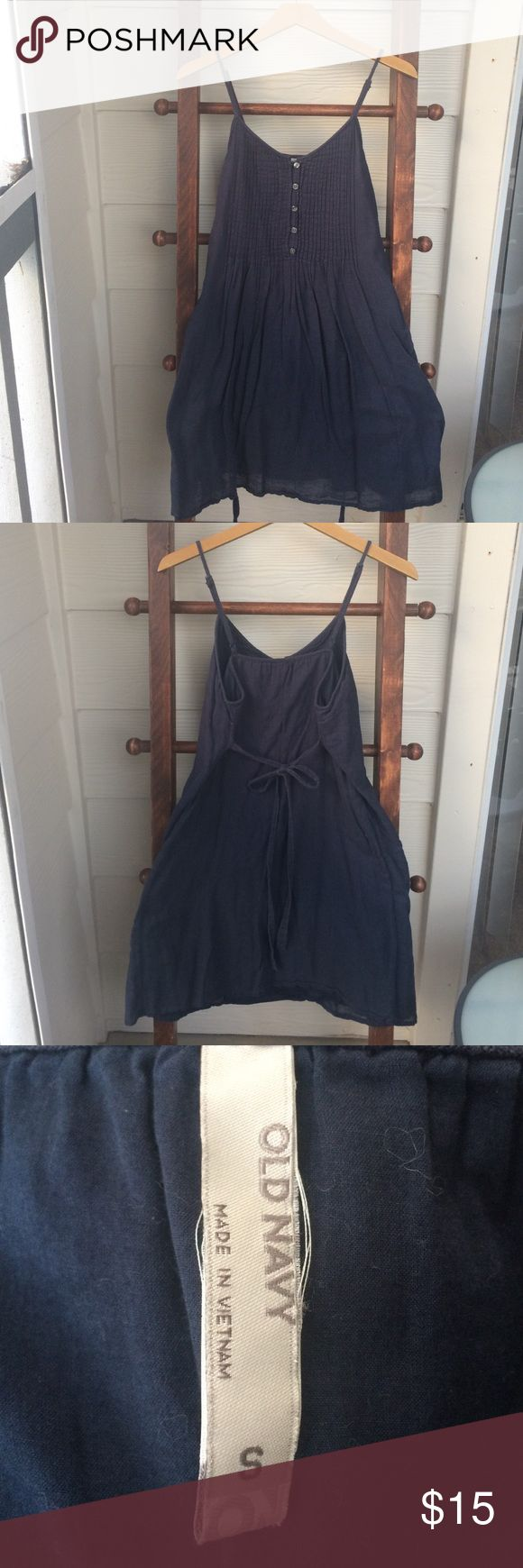 Old Navy Navy Summer Dress (S) Old Navy Small Navy Linen Summer Dress with Front Pleating and Button Detail Old Navy Dresses Midi