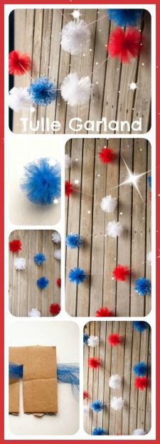 DIY firework tulle patriotic garland step by step tutorial. Learn how to make these easy tulle puffs on redomom.com. this will make a cute decoration for your home or a party!!