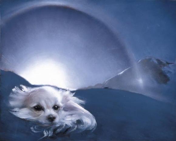 Blue - dog - painting - Louise Hearman,