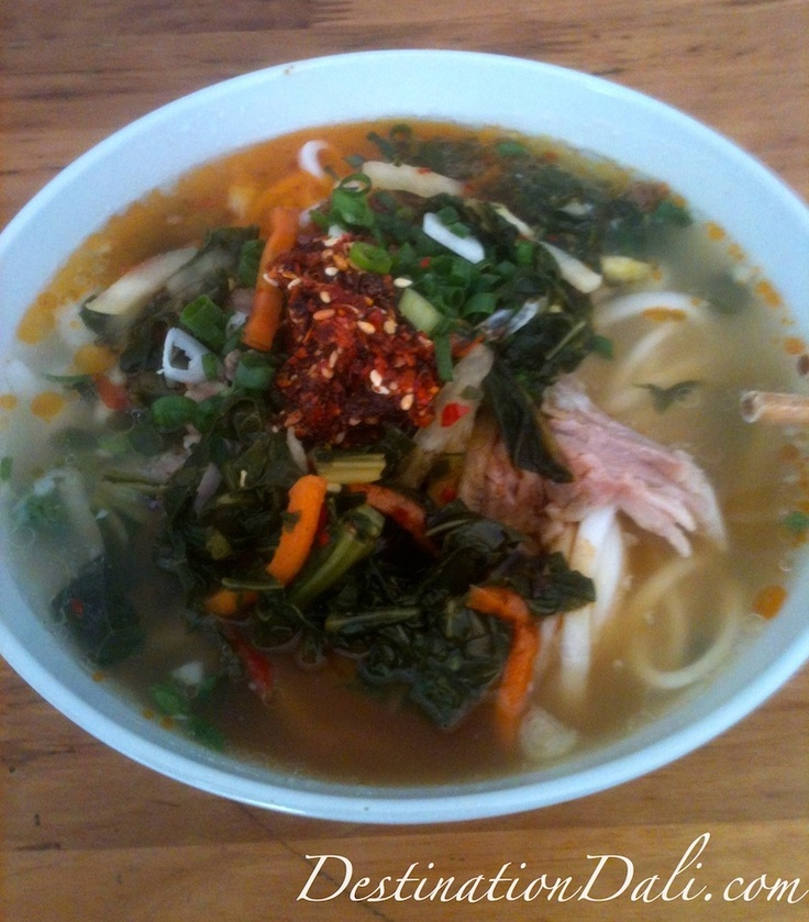 A traditional #Dali #Yunnan breakfast of rice noodles (米线).