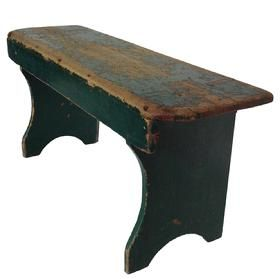 19th century Pennsylvania  Bench, with wonderful Windsor  green  paint over original red paint  mortised with shaped front, great small size and form.  circa 1840 1860
