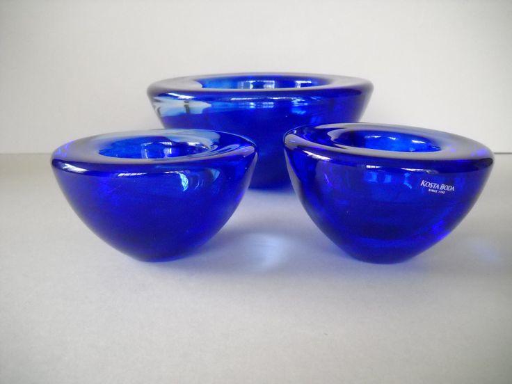 Kosta Boda Atoll Glass Bowl & Tealight Holder Candleholder Set Cobalt Blue Swirl. Anna Ehrner Design by Modernaire on Etsy