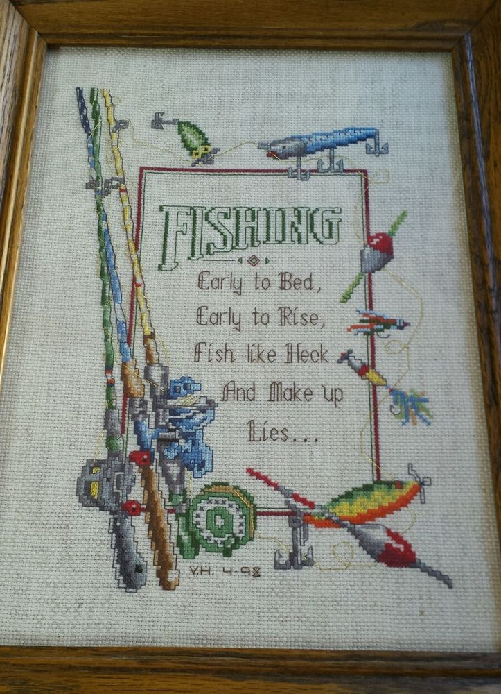 Completed framed cross stitch fishing poles lures bobber for Fishing cabin kits