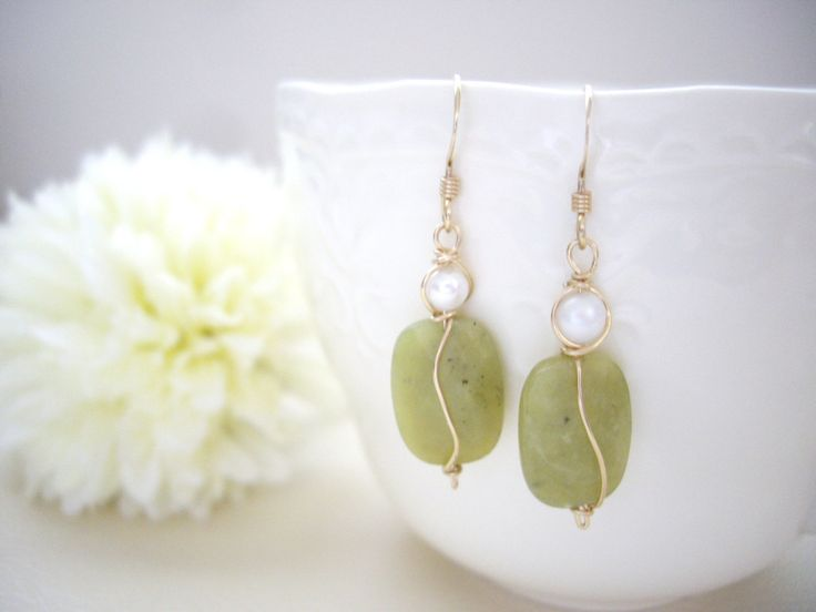 Olive green gem wire wrapped earrings, Olive jade and pearl, Gold filled, Clip…