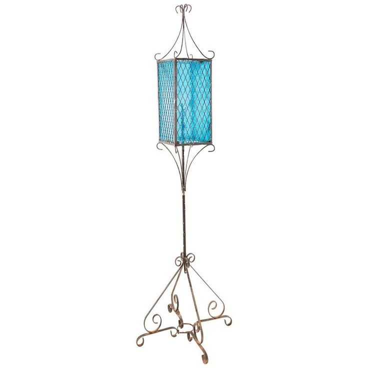 Vintage Venetian Blue Lantern Style Floor Lamp | From a unique collection of antique and modern floor lamps at https://www.1stdibs.com/furniture/lighting/floor-lamps/