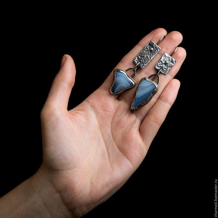 """Купить Серьги """"Голубая бездна"""" - голубой, снежный, голубая бездна, голубой агат, лагуна"""