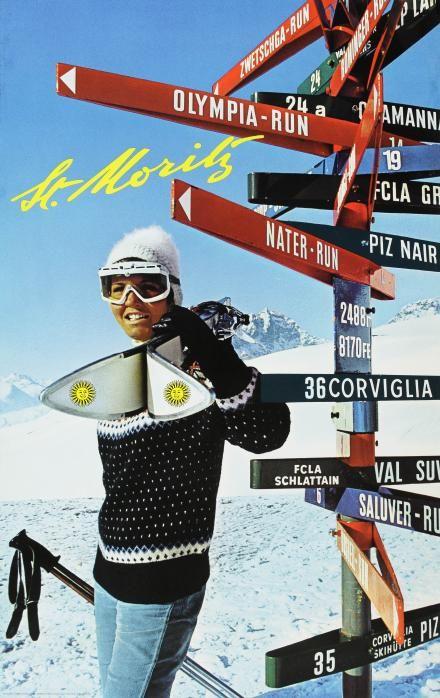 1960s San Moritz Ski Poster