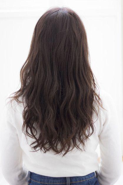 秋の暗髪ネイビーアッシュのデジタルパーマロングs-293