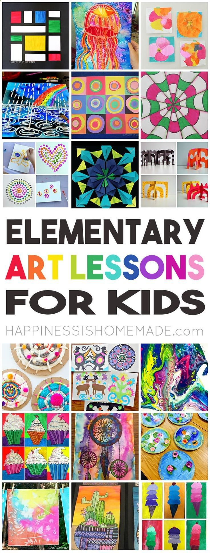 36 Elementary Art Lessons for Kids - one for every week of the school year! Perfect for homeschool families, teachers, scout leaders, and parents! via @hiHomemadeBlog