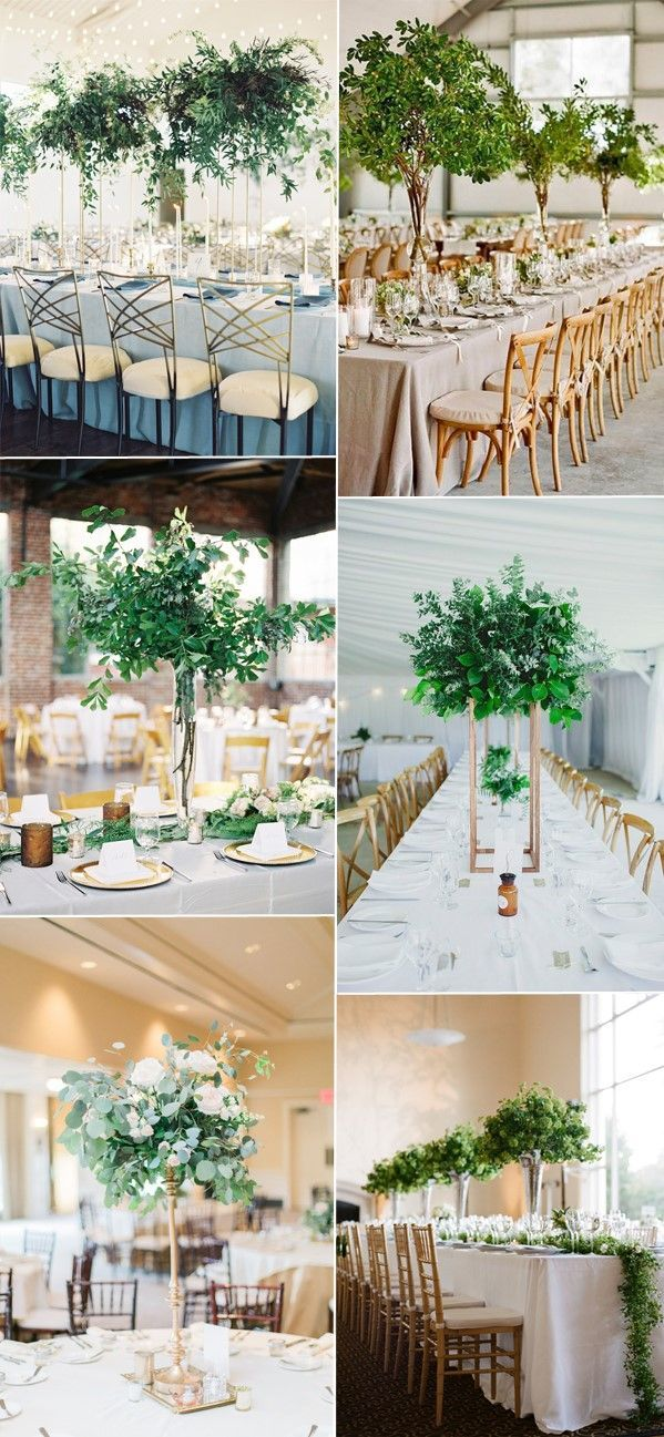 natural green wedding tall centerpieces decor