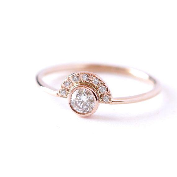 Anillo de compromiso de diamante con Pave corona  02 por artemer