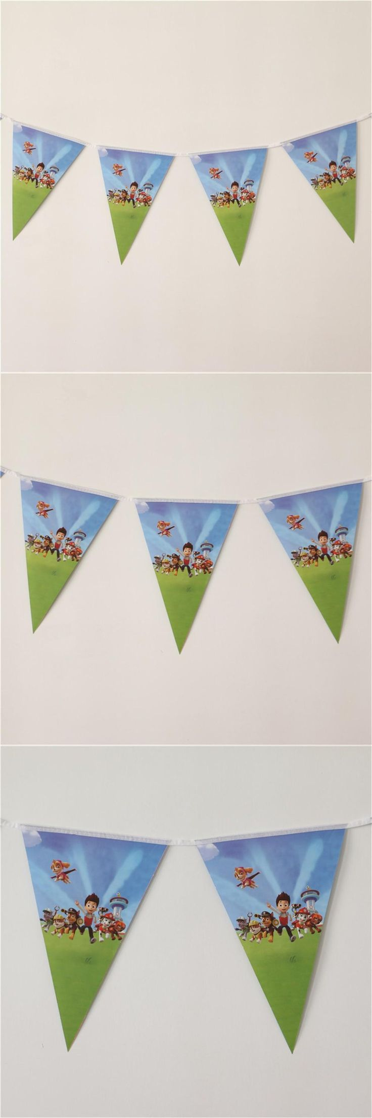 [Visit to Buy] 10Flags/Pack Kids Birthday Party Supplies puppy patrol Party Pennant Bunting Birthday Flag Banners Boys Event Party Supplies  #Advertisement