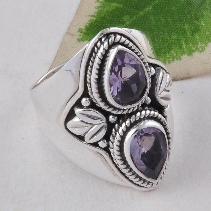 AMETHYST CUT SOLID 925 STERLING SILVER EXCLUSIVE RING JEWELLERY 7.22g R01585 #Handmade #GEMSTONERING