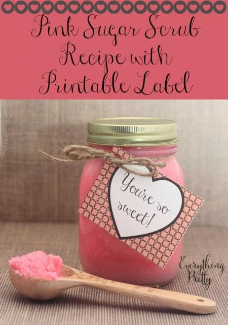 Easy Pink Sugar Scrub Valentine's Day Gift with Printable Label
