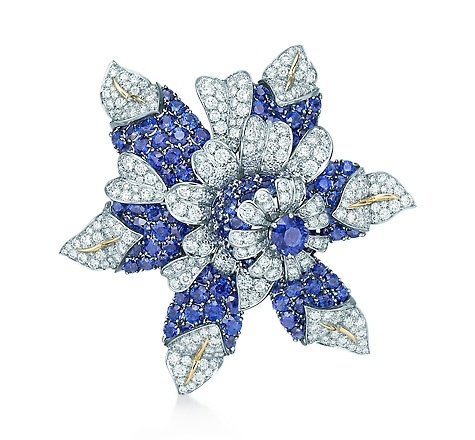 Tiffany & Co. | Item | Schlumberger Fleur de Mer clip in platinum and gold with sapphires and diamonds. | United States