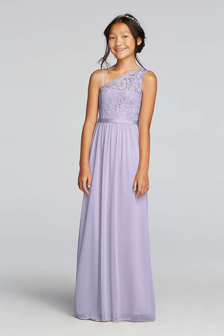 11 best bridesmaid dresses images on pinterest boyfriends the younger girls in your party will blend seamlessly in this junior bridesmaid dress with a long mesh skirt and one shoulder lace bodice plus an optional ombrellifo Choice Image