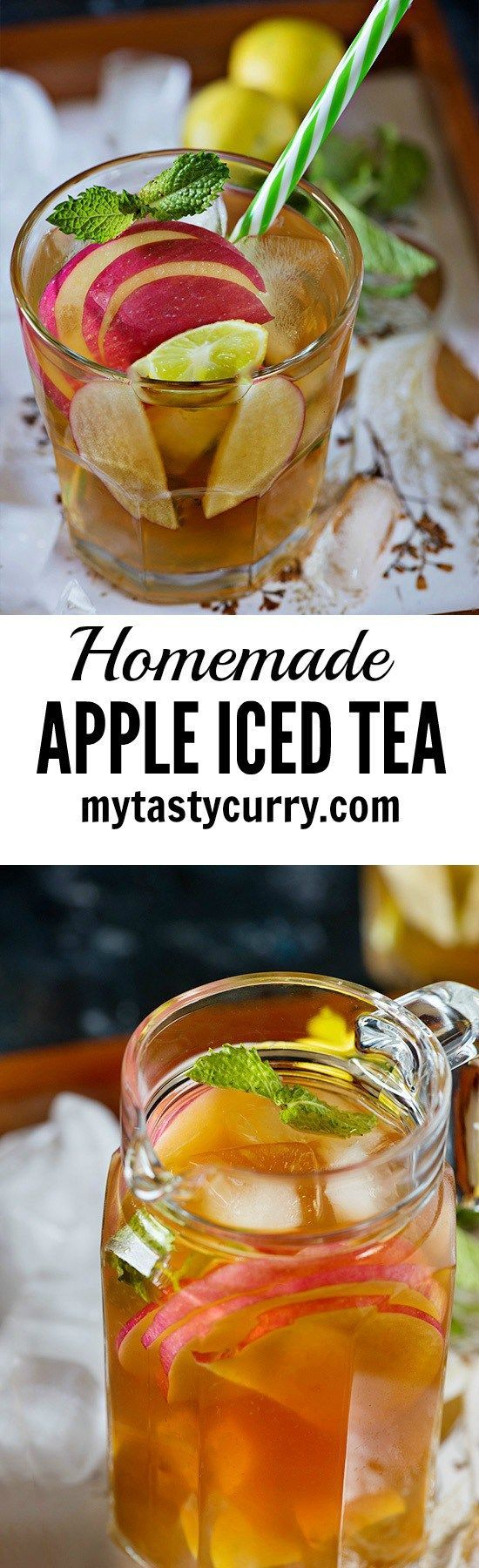 Homemade Apple Ice Tea. Simple and so easy to make and absolutely perfect summertime drink recipe.    This summer try this delicious Apple iced tea recipe for a refreshed and rejuvenated feeling!