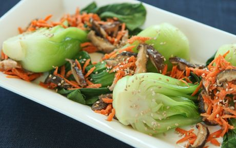 Bok Choy with carrots and sesame orange dressing! Nom! I need to start using tahini in my asian sauces...