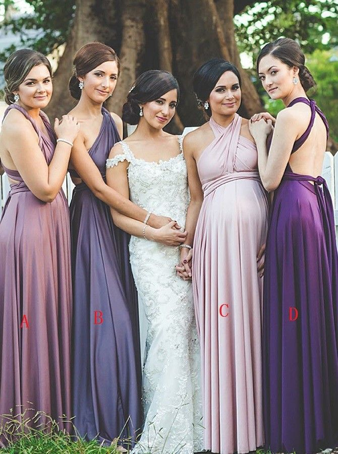 297cd495eb5 A-Line V-Neck Convertible Style Blush Bridesmaid Dress with Pleats ...