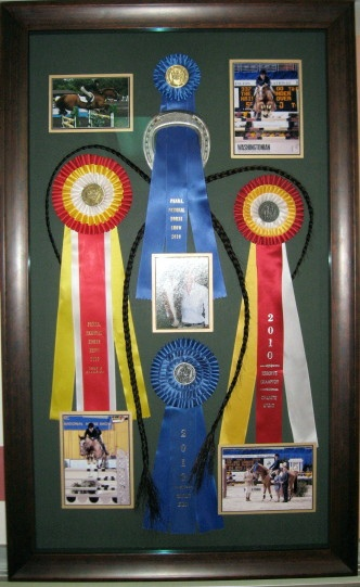 Horse show ribbon shadow box idea