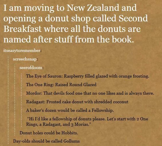This is happening!!!! A LOTR donut shop...brilliant // ...I... I... I want to rename them all at my workplace now.