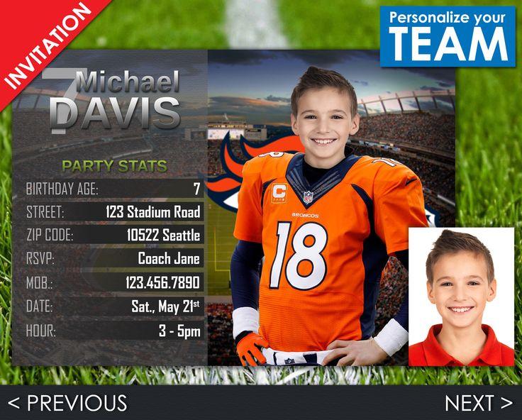 NFL Invitation - Choose your team! Digital Invitations (jpg and pdf files)  Denver Broncos, Seattle Seahawks, New England Patriots, Carolina Panthers, Dallas Cowboys, Houston Texans, Los Angeles Rams, New York Giants, San Francisco 49ers ...