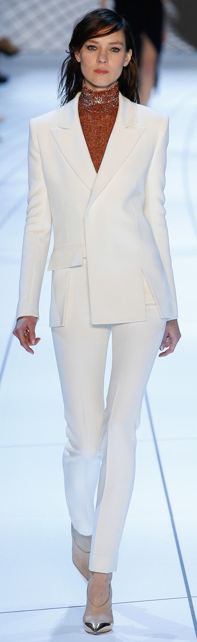 Mugler ~  Fall White Pant Suit, 2015