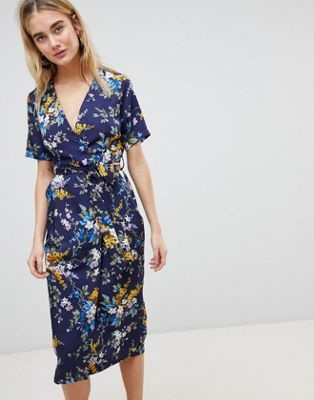 857377ca64ae Warehouse Trailing Floral Pleated Midi Wrap Dress