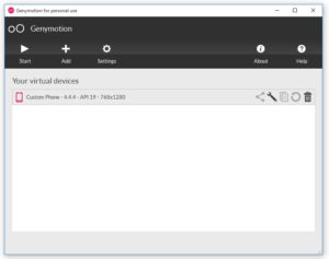 Genymotion Android Emulator User Interface