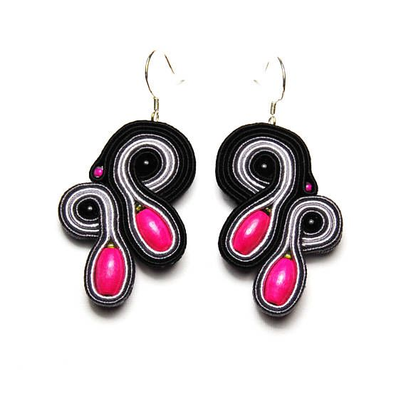 Soutache earrings black gray pink shop jewelry handmade gift