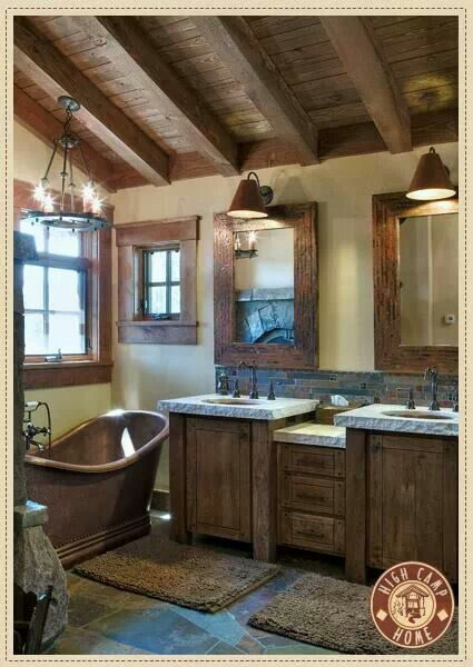 Those sinks..those beams....that tub!
