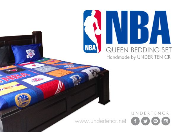 NBA comforter with Spurs, Mavericks, Heat, Thunders, Celtics, Knicks, Nets, Clippers, Lakers, Warriors, Bulls, Bobcats and NBA logo. All handmade by Under Ten CR: undertendeco@gmail.com