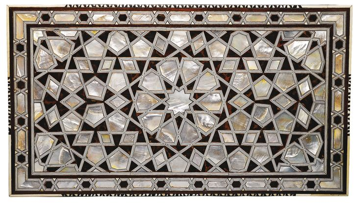 AN OTTOMAN MOTHER-OF-PEARL, TORTOISESHELL AND IVORY CALLIGRAPHER'S CHEST, TURKEY, 17TH/18TH CENTURY decorated with tortoiseshell and mother-of-pearl polygons in a stellar pattern on top, with ivory and metalwork criss-cross borders and palmettes in front, the drawer opens to reveal three compartments and one underneath, on four bracketed feet