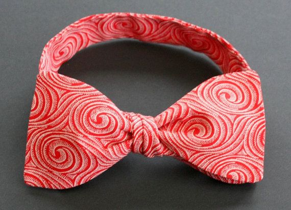 Red Self tie Bow tie funky African ShweShwe fabric by IntleAfrika