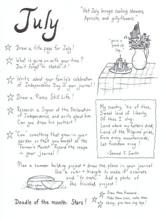Monthly journaling ideas
