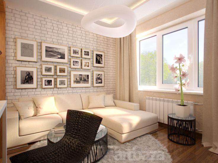 Дизайн интерьера гостиной в трёхкомнатной квартире