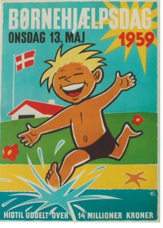 vintage kid beach poster Denmark , 1959  #travel #beach #www.varaldocosmetica.it/en : the extra virgin olive oil cosmetics from the italian riviera.