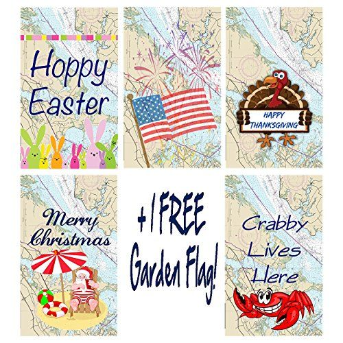 "Beach Bum Holiday Nautical Garden Flag 4 pack bundle + 1 FREE! 12""x18"" Unique Textile Printing http://www.amazon.com/dp/B00Y0Z4LHE/ref=cm_sw_r_pi_dp_UhwJvb0GQ9Z8V"