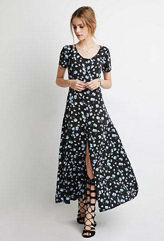 Buttoned Floral Maxi Dress--This dress has a lovely 90s look and it buttons all the way down. Love it!