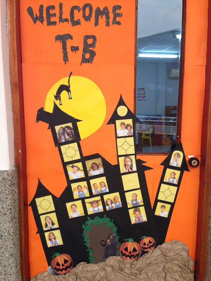 Halloween classroom door mansion of terror classroom door with our pictures scary classroom door