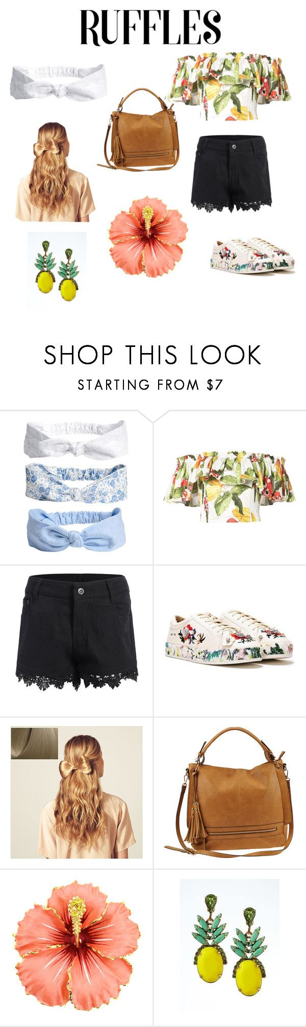 """""""Tropical Ruffles"""" by musicaltheater ❤ liked on Polyvore featuring Isolda, Nasty Gal, Hershesons, Urban Expressions and Banana Republic"""