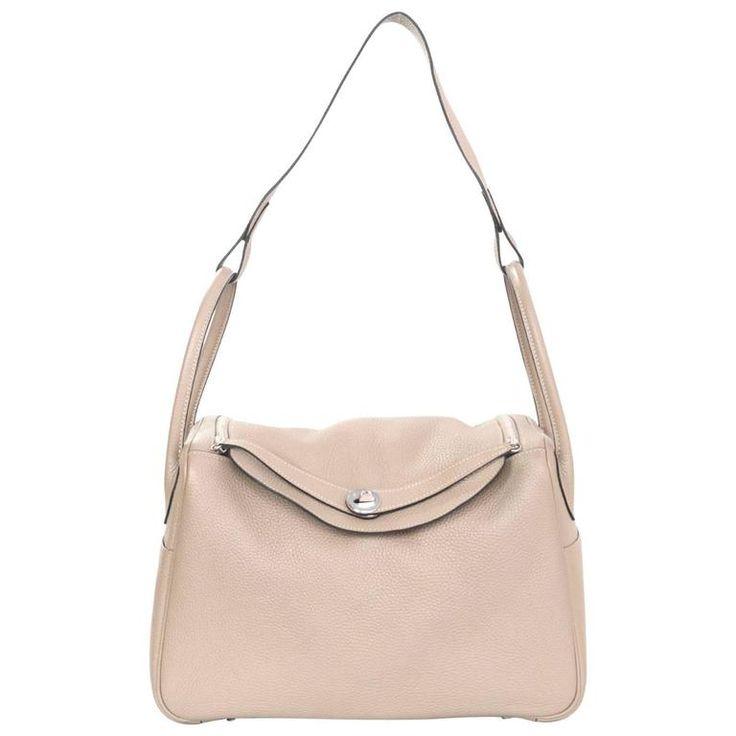 Hermes Gris Tourterelle Clemence Leather Lindy 34 Bag w. Box