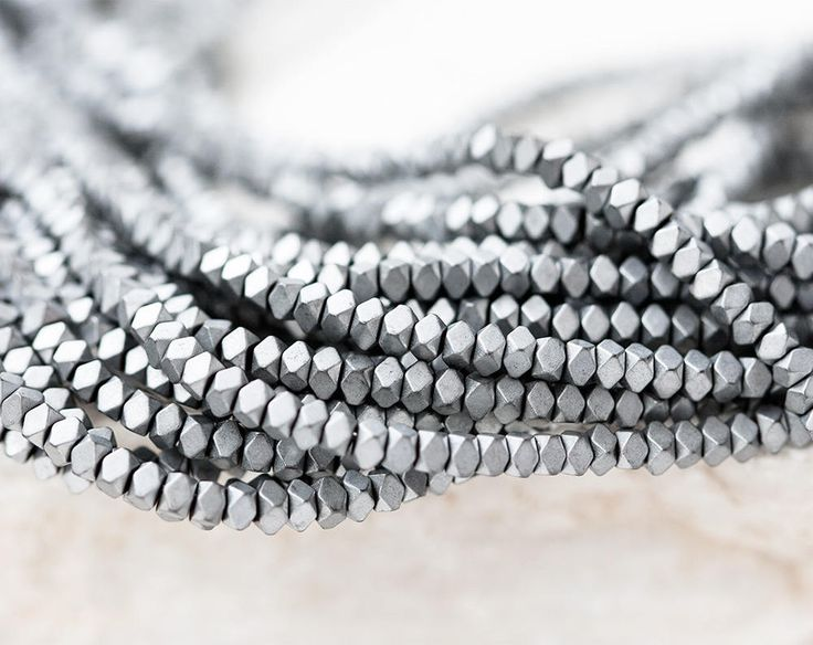 2675_Frosted silver hematite 3x3x2 mm, Small hematite beads, Faceted beads, Matt hematite beads, Metal natural beads, Silver stone beads. by PurrrMurrr on Etsy