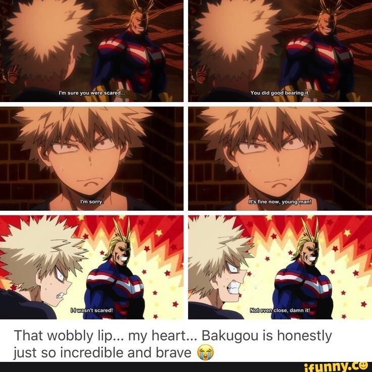 That Wobbly Lip My Heart Bakugou Is Honestly Just So Incredible And Brave Ifunny Hero Hero Academia Characters My Hero Academia Memes