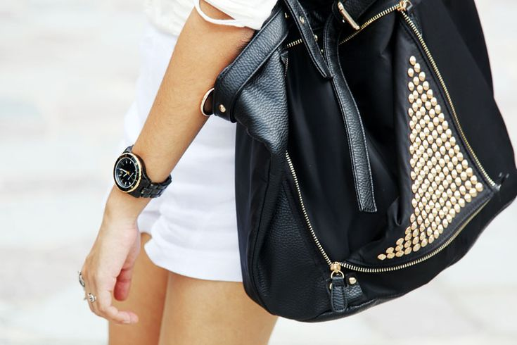 That bag! Black leather bag with polka dot gold studs #streetstyle #leather #bag