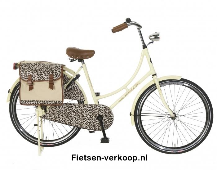 Omafiets Luipaard Bruin & Tas 26 Inch | bestel gemakkelijk online op Fietsen-verkoop.nl